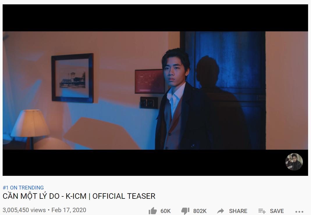 Teaser Cần một lý do của K-ICM phá kỷ lục về lượng dislike, vượt cả thành tích cũ của chính mình