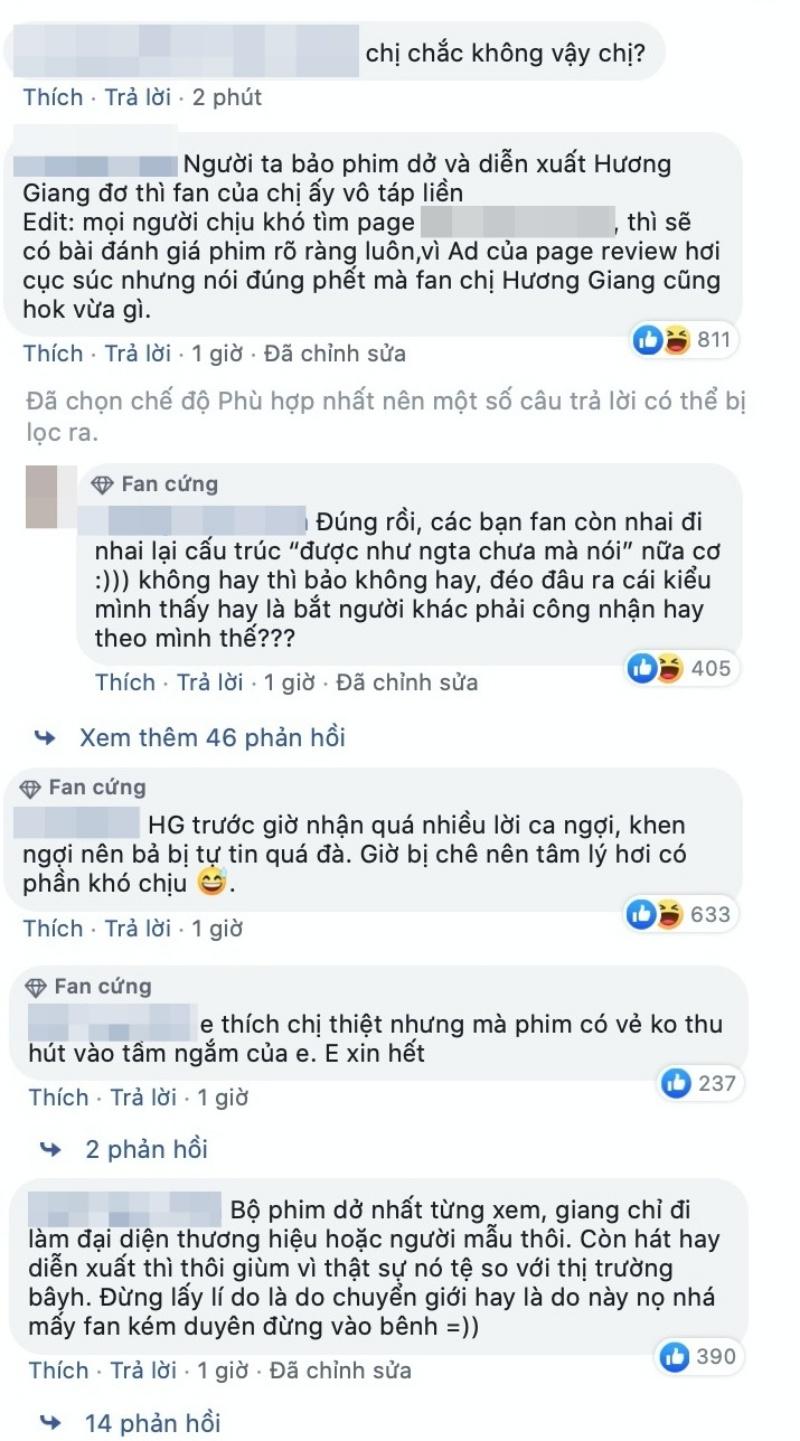 Đáp trả dân mạng việc phim đầu tay bị chê dở, Hương Giang tiếp tục bị netizen chỉ trích