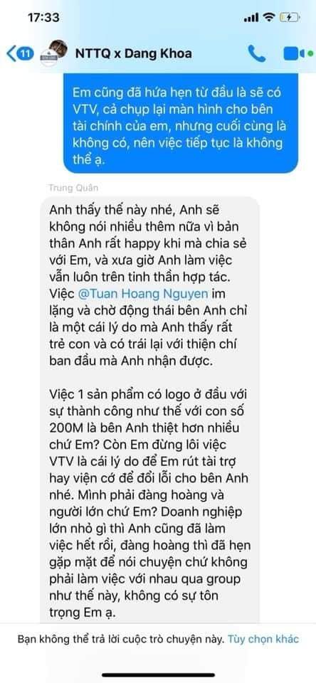 Nguyễn Trần Trung Quân - Denis Đặng tiếp tục dính phốt: Bị nhà tài trợ tố cáo lật kèo, không giữ lời hứa