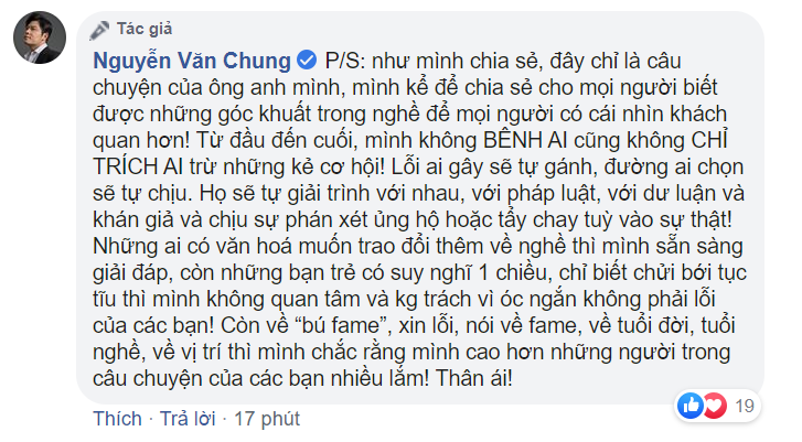 Nhạc sĩ Nguyễn Văn Chung đăng bài viết về quan hệ quản lý - nghệ sĩ giữa ồn ào Châu Đăng Khoa - Orange