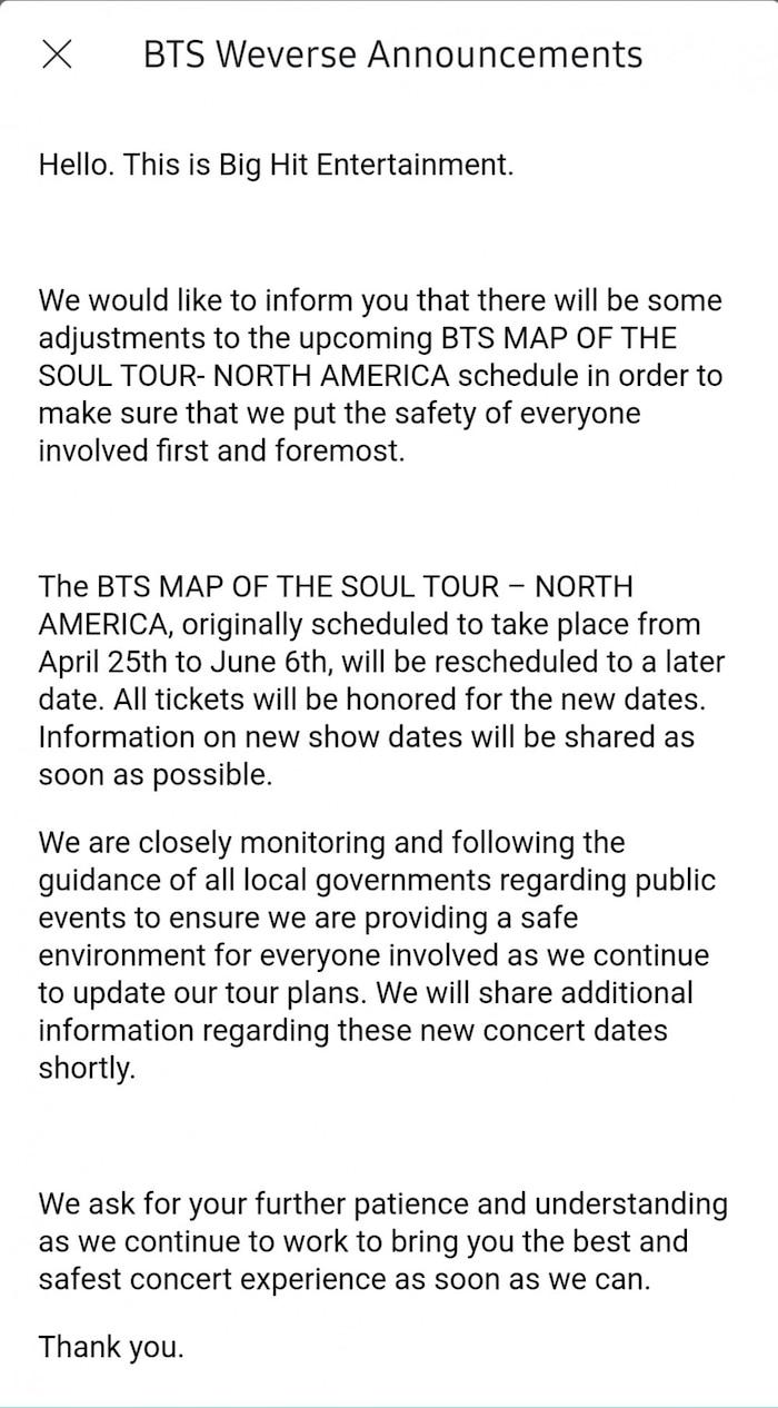 Dịch Covid-19 bùng phát mạnh, BTS  thông báo hoãn luôn Map Of The Soul Tour ở Bắc Mỹ
