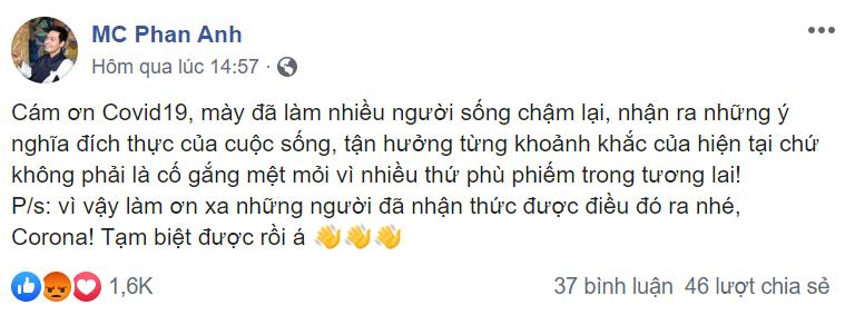 MC Phan Anh gây tranh cãi với phát ngôn Cảm ơn Covid-19