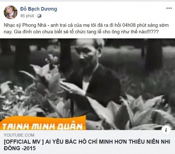 Tác giả ca khúc Ai yêu Bác Hồ Chí Minh hơn thiếu niên nhi đồng qua đời