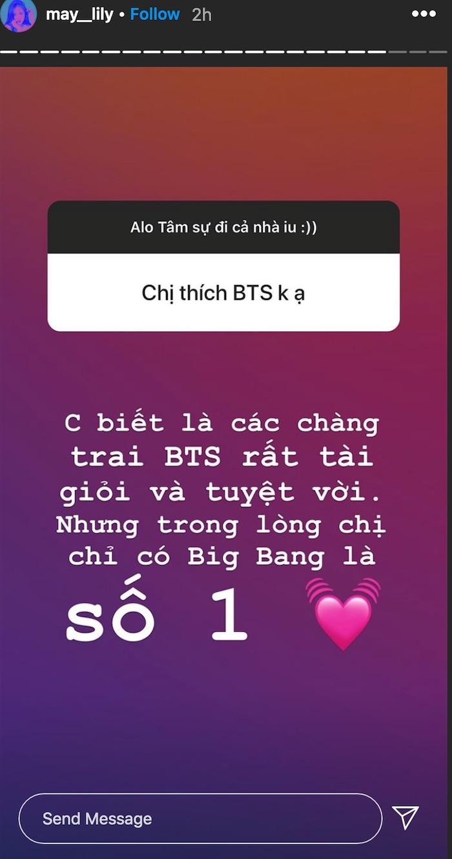 Không ngại mất lòng fan BTS, Phương Ly vẫn giữ trọn tình yêu cho BIGBANG