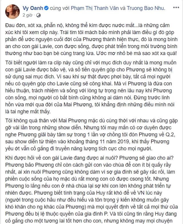 Vy Oanh hé lộ tâm nguyện cuối đời của Mai Phương: Muốn Lavie vào chùa, đừng để cháu sống với ông bà ngoại