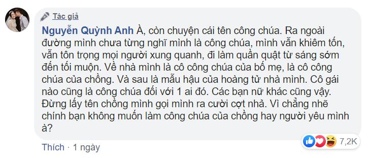 Quỳnh Anh đáp trả khi bị trêu chọc vì biệt danh công chúa béo: Đừng lấy tên chồng mình gọi ra cợt nhả