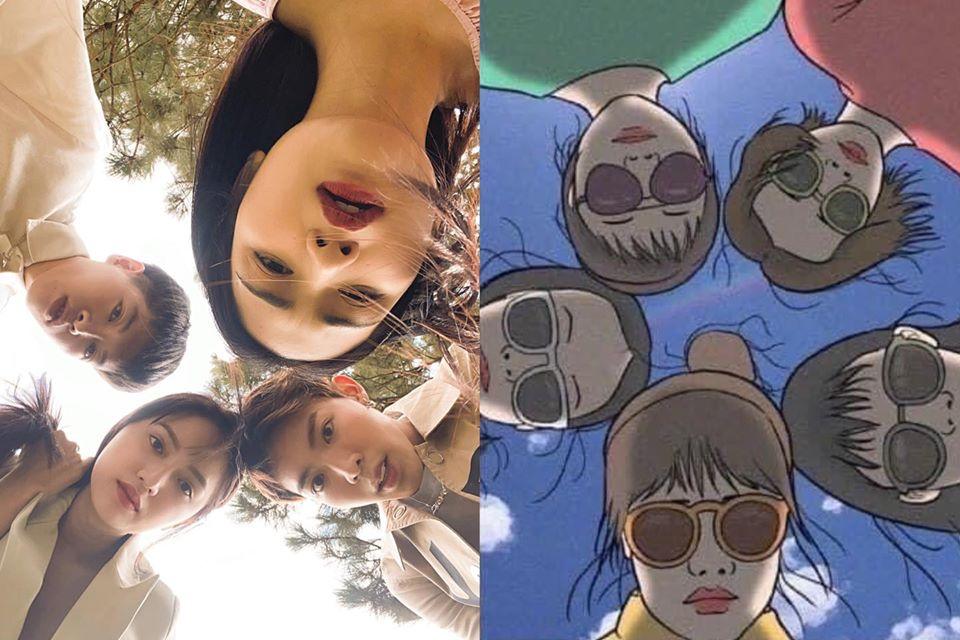 Chị em Hoa Dâm Bụt bắt trend chụp hình nhóm, không quên dìm hàng lẫn nhau