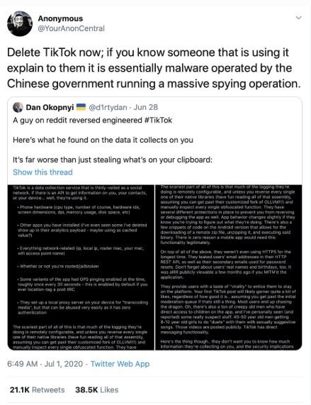 Nhóm hacker nổi tiếng Anonymous kêu gọi hãy xóa TikTok ngay