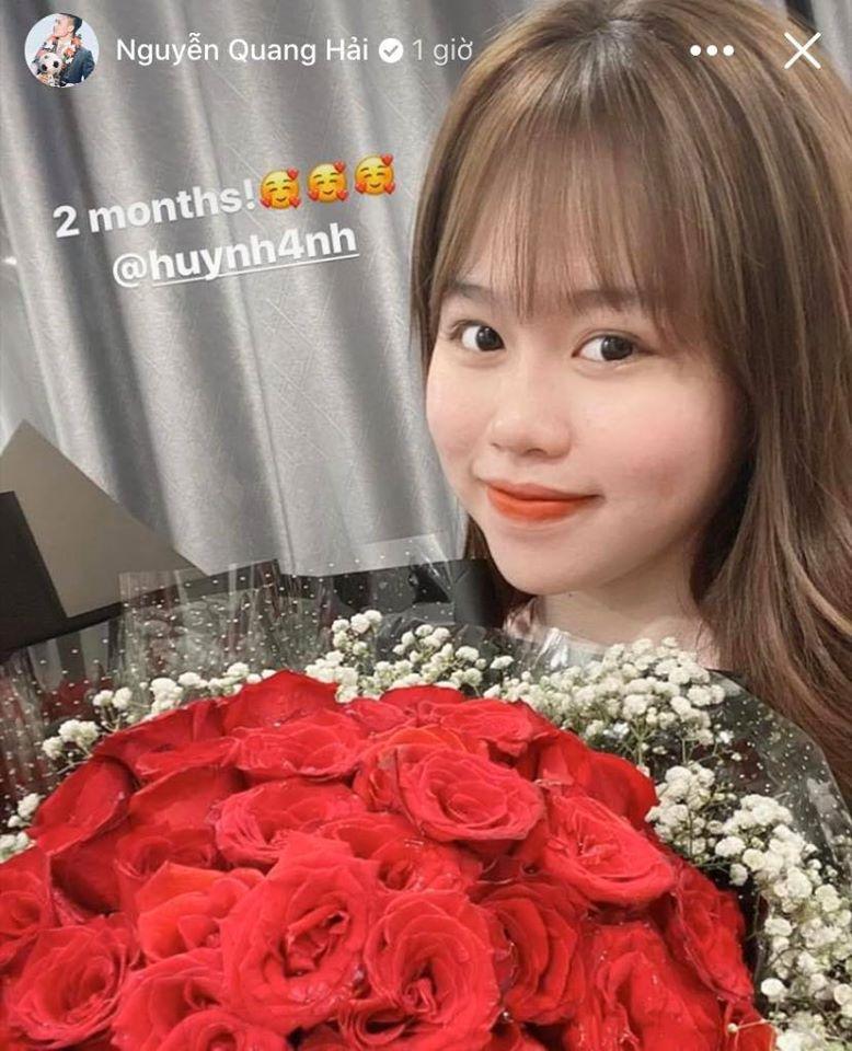 Sau ồn ào chuyện tin nhắn nhạy cảm, Quang Hải đăng ảnh mừng kỉ niệm 2 tháng hẹn hò cùng Huỳnh Anh