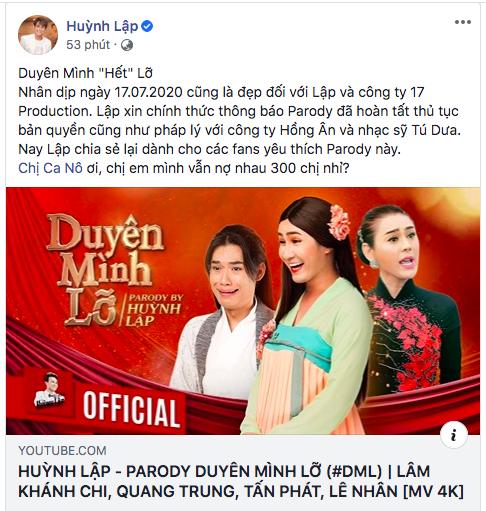 Hoàn tất thủ tục bản quyền, parody Duyên mình lỡ của Huỳnh Lập chính thức trở lại kênh Youtube