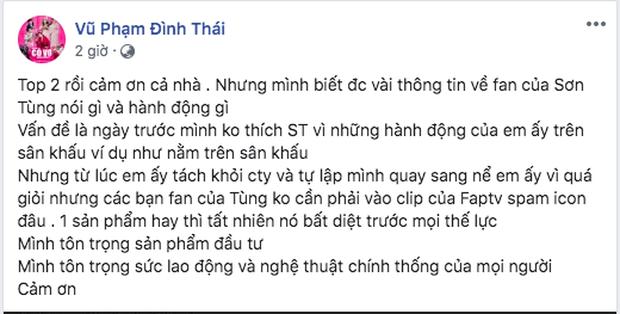 Thái Vũ (FAPTV) lên tiếng sau vụ lùm xùm với fan Sơn Tùng: Cũng có thể tôi sai, nhưng chúng tôi phải ẩn rất nhiều spam từ SKY - MTP