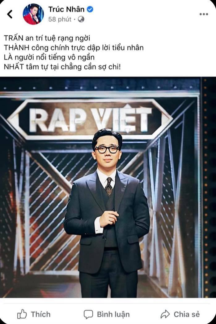 Loạt sao Việt bức xúc lên tiếng bênh vực khi Trấn Thành bị chỉ trích vì làm MC cho chương trình Rap Việt