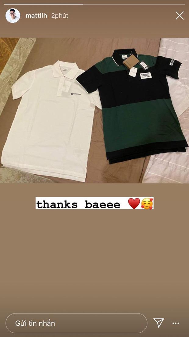 Vừa đưa Hương Giang ra mắt hội bạn, Matt Liu khoe được bạn gái tặng 2 chiếc áo hàng hiệu