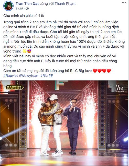 Wowy lên tiếng về việc F bị nghi chơi xấu R.I.C tại Rap Việt