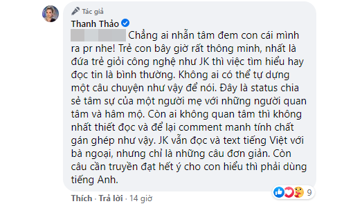 Thanh Thảo tức giận đáp trả khi bị chỉ trích lợi dụng con trai Ngô Kiến Huy để PR