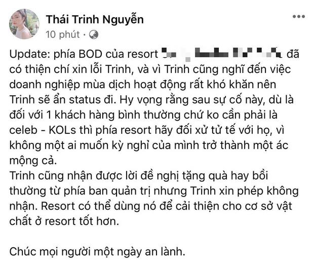 Thái Trinh hé lộ cách xử lí của resort 5 sao sau lùm xùm ngộ độc