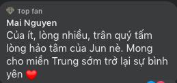 Jun Phạm thông báo quyên tặng cho người dân vùng lũ, netizen tấm tắc khen Jun tinh tế nhờ chi tiết này