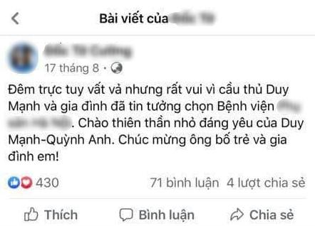 Vợ Duy Mạnh vội vàng xoá bài đăng PR cho việc đi đẻ sau khi bị netizen bóc phốt quảng cáo sai sự thật