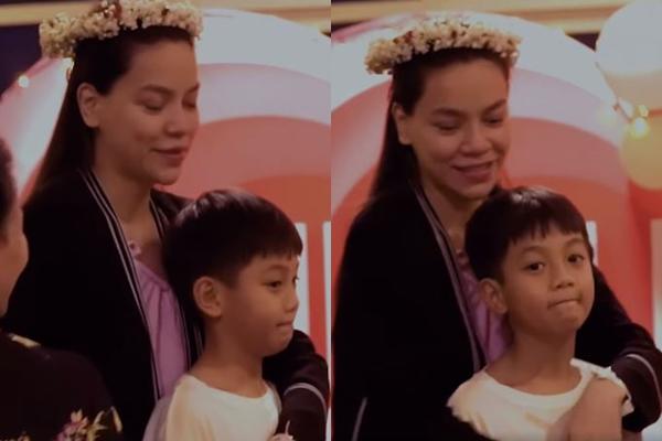 Biểu cảm đáng chú ý của Subeo khi mẹ Hồ Ngọc Hà được Kim Lý cầu hôn