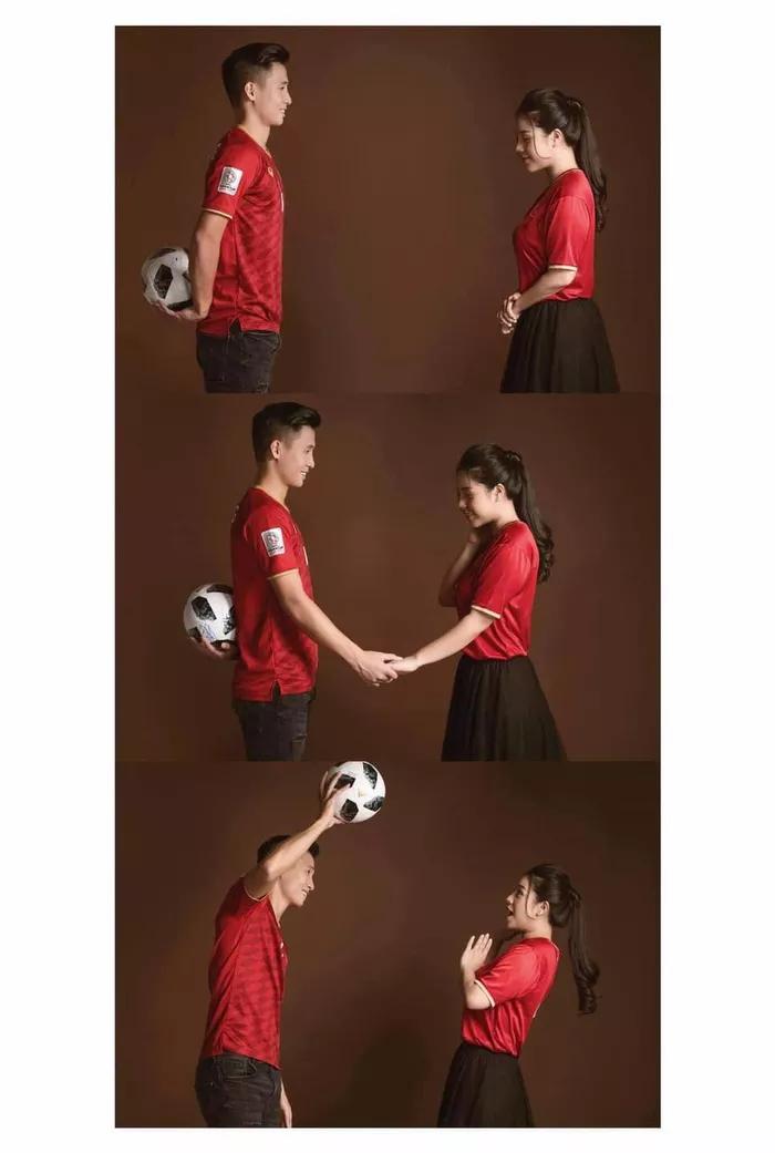 Bùi Tiến Dũng - Khánh Linh hé lộ ảnh cưới trẻ trung theo concept bóng đá