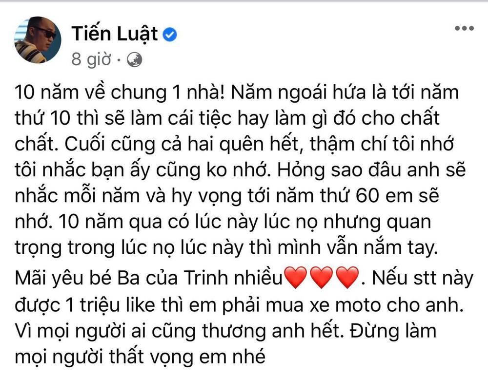 Tiến Luật viết thư kỷ niệm 10 năm ngày cướiThu Trang, câu chốt hạ khiến netizen ngã ngửa
