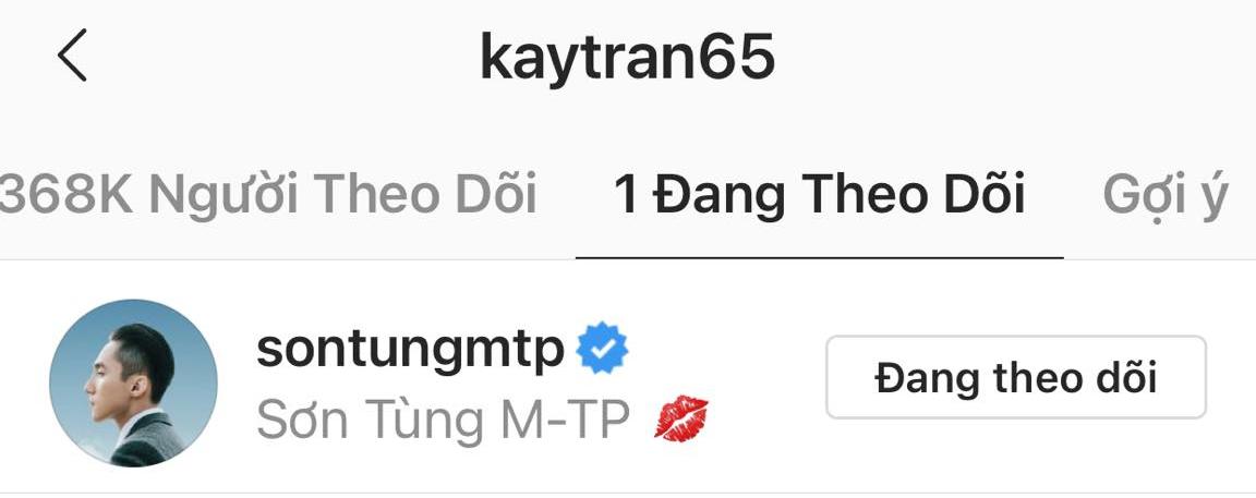 Mải suy đoán danh tính trà xanh, không ai để ý rằng Kay Trần chỉ follow một mình Sơn Tùng, còn tung hint lộ liễu