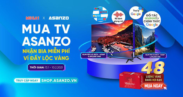 Cơ hội nhận quà tài lộc khi mua tivi Asanzo