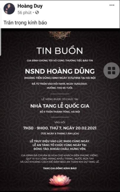 Gia đình công bố cáo phó tang lễ NSND Hoàng Dũng: Hé lộ thời gian, địa điểm an táng và lưu ý quan trọng về việc nhận vòng hoa