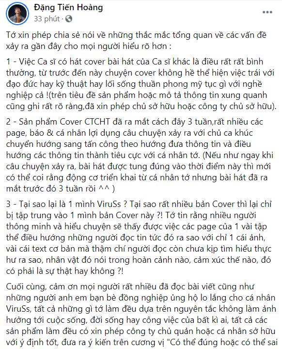 ViruSs lên tiếng khi bị chỉ trích vì PR bản cover Chúng Ta Của Hiện Tại của Thùy Chi giữa lúc Sơn Tùng gặp biến