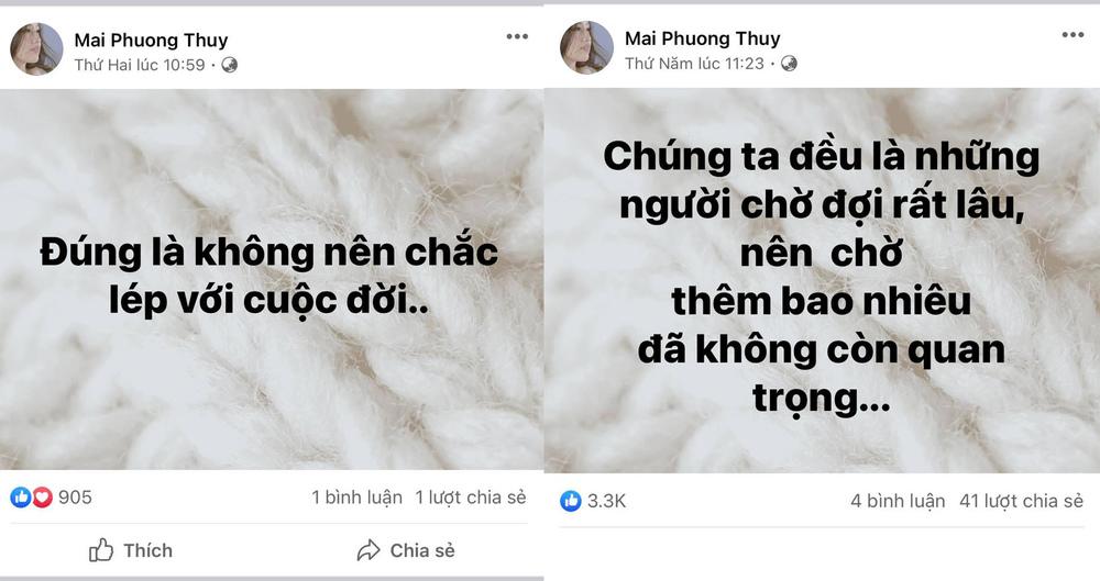 Mai Phương Thúy liên tục có chia sẻ buồn về tình yêu, netizen xôn xao liệu có liên quan đến Noo Phước Thịnh
