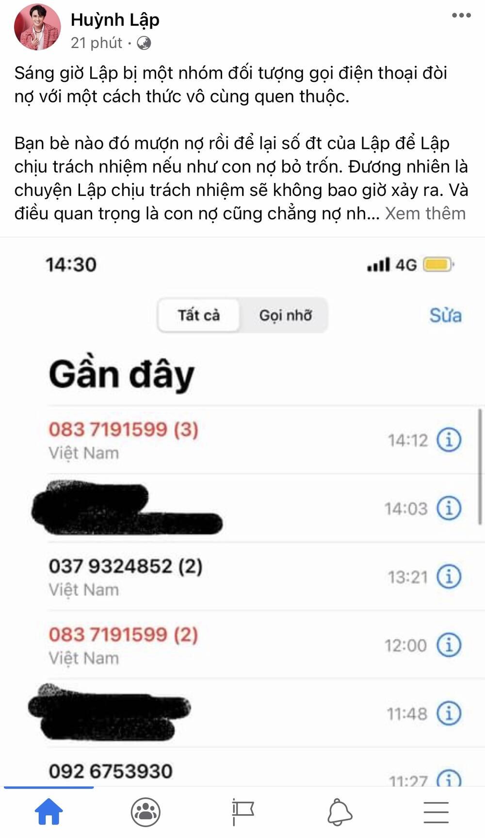 Huỳnh Lập bị hàng loạt cuộc điện thoại gọi đòi nợ tới tấp, phải nhờ công an vào cuộc