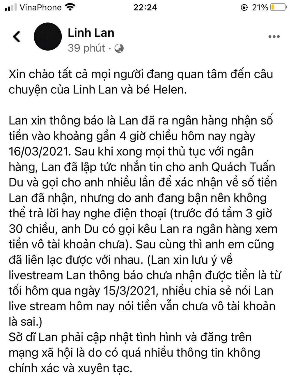Vợ cố nghệ sĩ Vân Quang Long tung bằng chứng làm rõ ồn ào nhận tiền từ Quách Tuấn Du