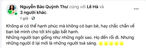 Giữa nghi vấn rạn nứt tình bạn với Vũ Khắc Tiệp, Quỳnh Thư bỗng đăng status đầy ẩn ý: Không ai chắc chắn về bạn bè đến khi gặp bất hạnh