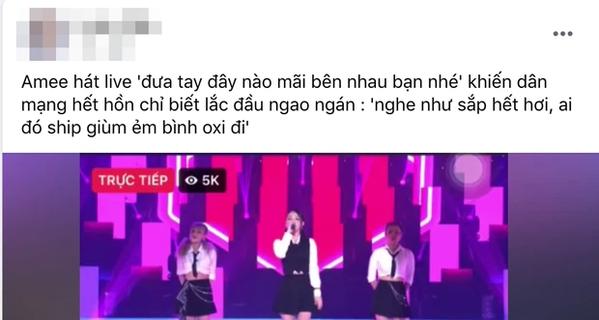 Amee bị chỉ trích dữ dội vì màn hát live hụt hơi như đọc truyện ma
