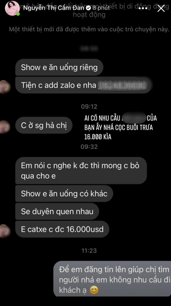 Tình tin đồn của chồng cũ Lệ Quyên công khai tin nhắn hẹn đi ăn với giá 16.000 USD