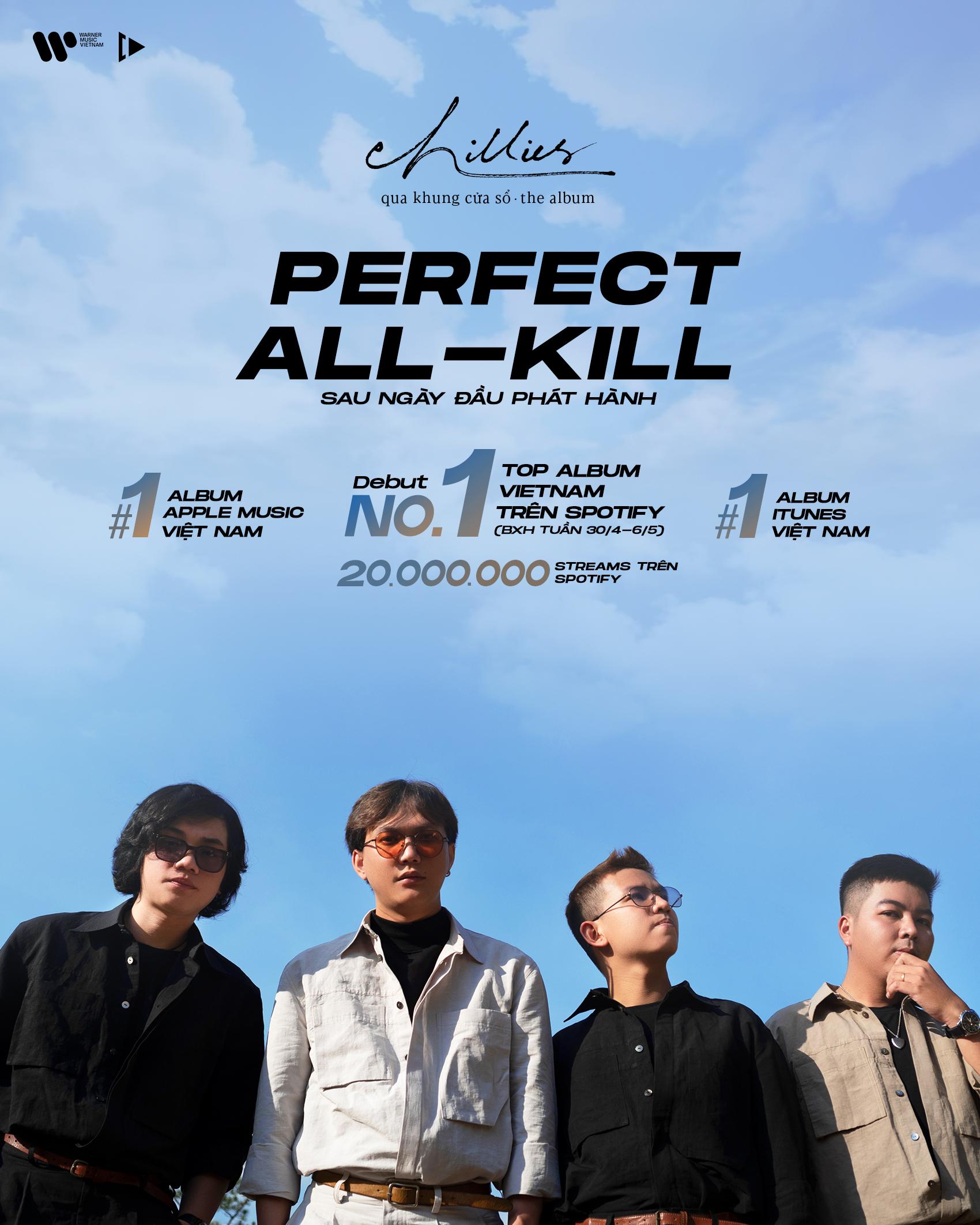 Chillies đạt Perfect All-Kill trên các nền tảng nhạc số với album Qua khung cửa sổ, xuất hiện trên MTV Asia