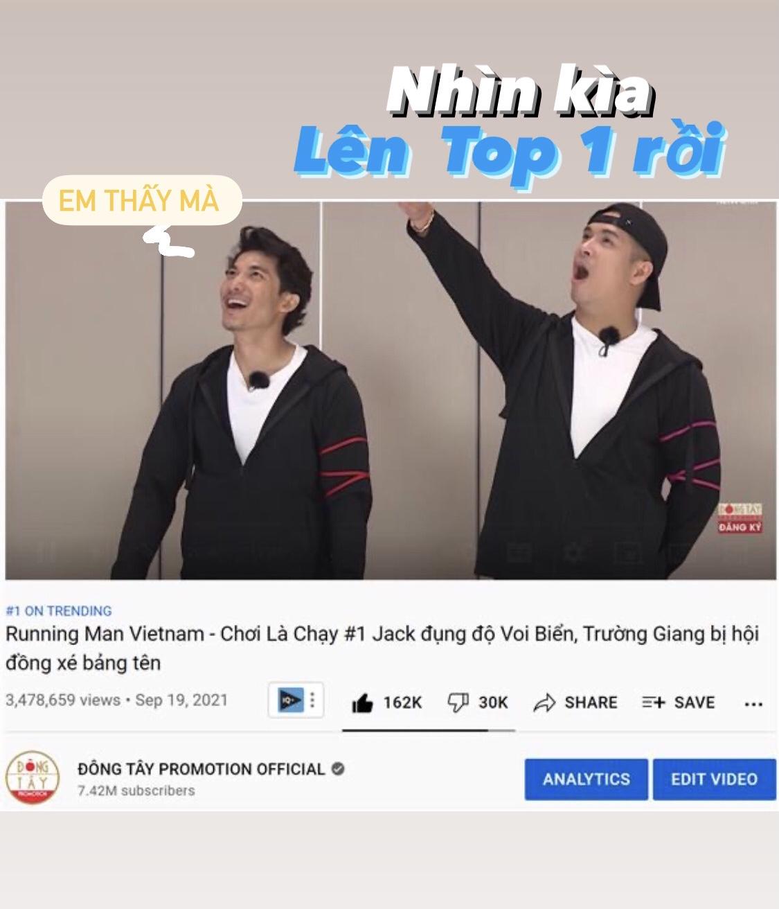 Tập 1 Running Man Vietnam đạt top 1 trending sau 18h lên sóng