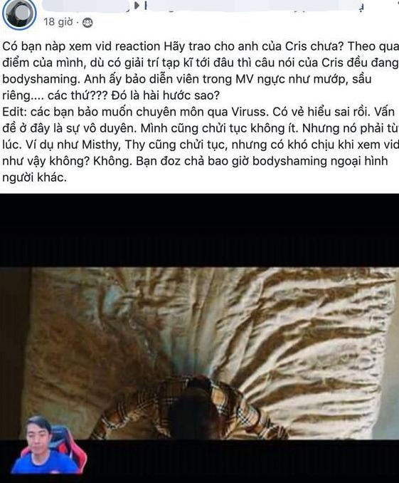 Cris Phan xin lỗi, giải thích việc body shaming mẫu nữ trong MV của Sơn Tùng M-TP: Mình hay trêu ghẹo các bạn, chứ không có ý gì