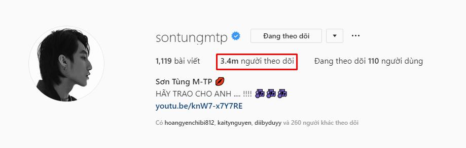 Sơn Tùng M-TP chính thức trở thành nghệ sĩ Việt có lượt theo dõi khủng nhất trên Instagram!
