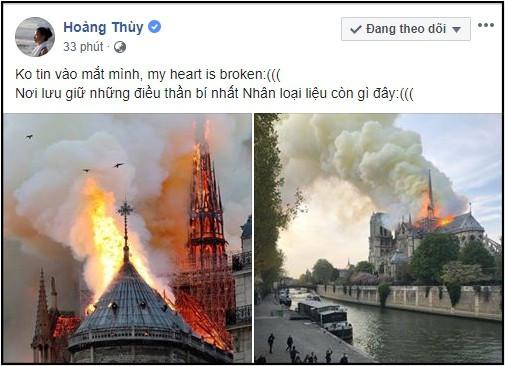 Sao Việt đau xót cầu nguyện trước cảnh tượng Nhà thờ Đức Bà Paris chìm trong biển lửa