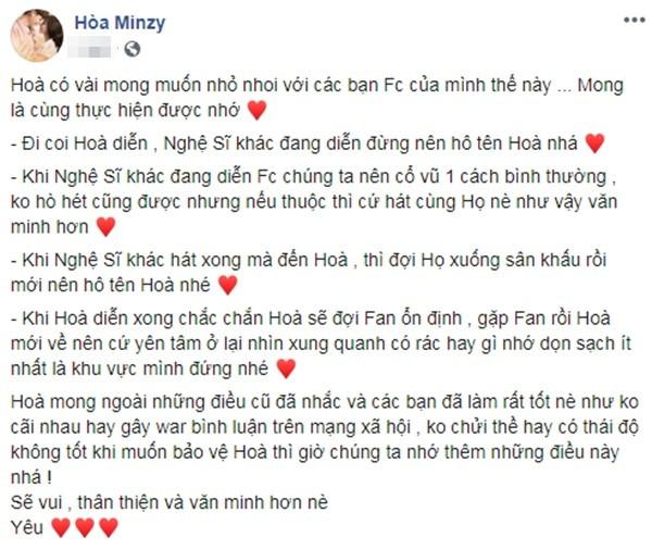Hòa Minzy ghi điểm mạnh cùng danh sách mong muốn gửi fan khi đến cổ vũ cô nàng