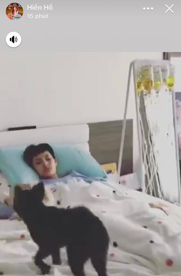 Hiền Hồ khiến CĐM lo lắng khi nằm trên giường bệnh, chuyền một lúc 5 chai thuốc