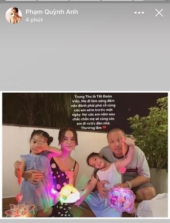 Phạm Quỳnh Anh và Quang Huy hội ngộ đón Trung thu cùng hai con gái cưng