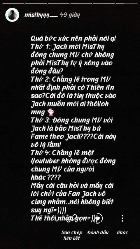 Thực hư chuyện Misthy lên tiếng khi bị fans Thiên An chỉ trích chân ngắn một mẩu, không xứng đóng MV với Jack?