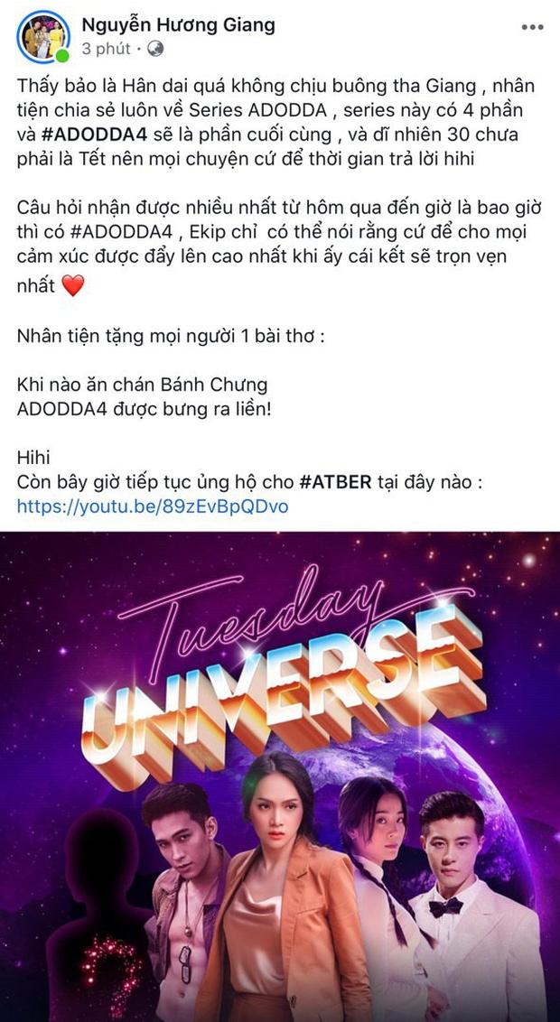Hương Giang thả thính ADODDA4 sẽ được bưng ra sau Tết Nguyên Đán?