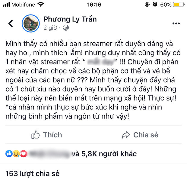 Cris Phan nhắn tin hỏi thẳng Phương Ly về status nói về streamer phán xét, châm chọc bề ngoài các bạn nữ