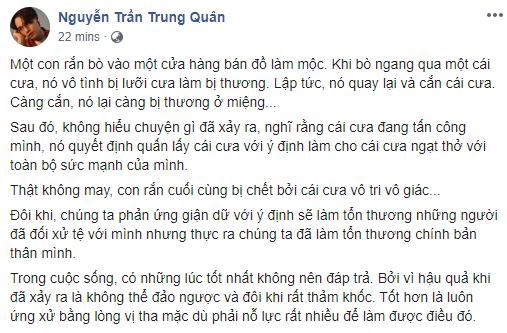 Nguyễn Trần Trung Quân phản ứng ẩn ý lạ lùng giữa lúc Denis Đặng dính ồn ào đạo nhái