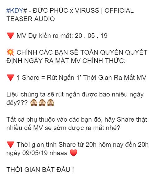 Đức Phúc chơi lớn trong MV kết hợp cùng ViRuSs: Để fan quyết định ngày ra mắt MV