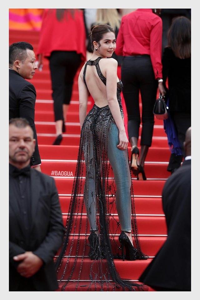 Ngọc Trinh phấn khích trước phiên bản được che chắn kỹ càng của bộ váy hở bạo ở  Cannes