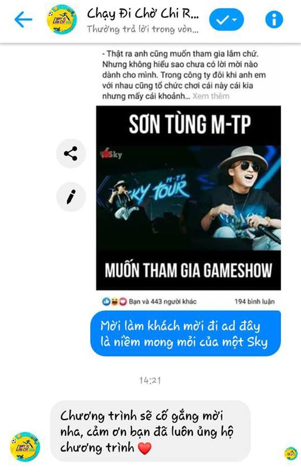 Sơn Tùng M-TP muốn đi gameshow mà không được mời, Sky nhắn thẳng cho Running Man Vietnam và được hồi đáp!